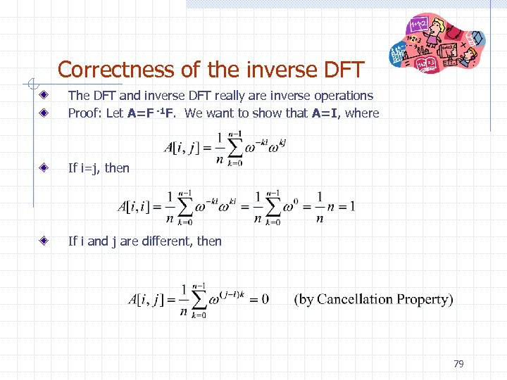 Correctness of the inverse DFT The DFT and inverse DFT really are inverse operations