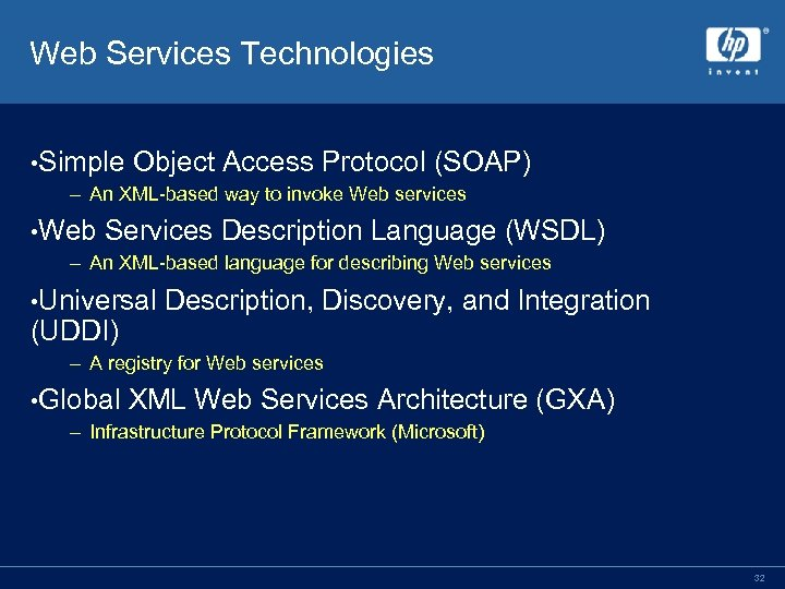 Web Services Technologies • Simple Object Access Protocol (SOAP) – An XML-based way to