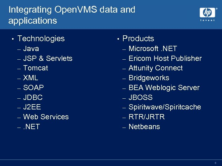 Integrating Open. VMS data and applications • Technologies – – – – – •