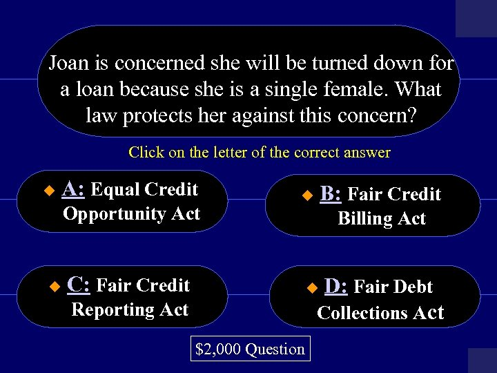 Joan is concerned she will be turned down for a loan because she is