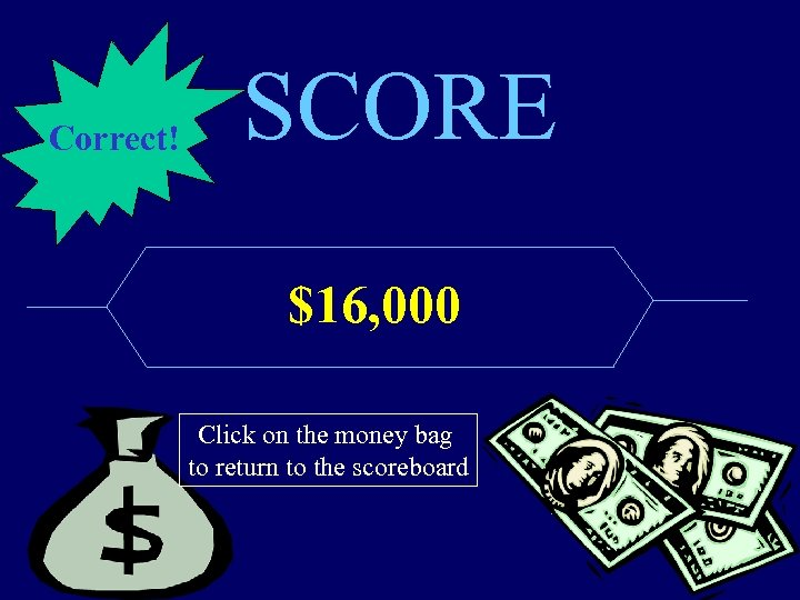 Correct! SCORE $16, 000 Click on the money bag to return to the scoreboard