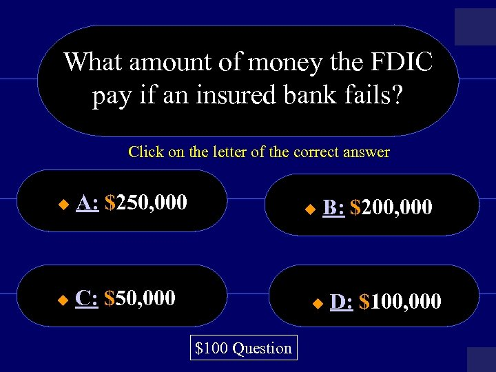 What amount of money the FDIC pay if an insured bank fails? Click on
