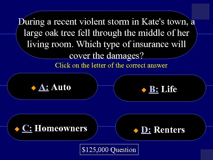 During a recent violent storm in Kate's town, a large oak tree fell through