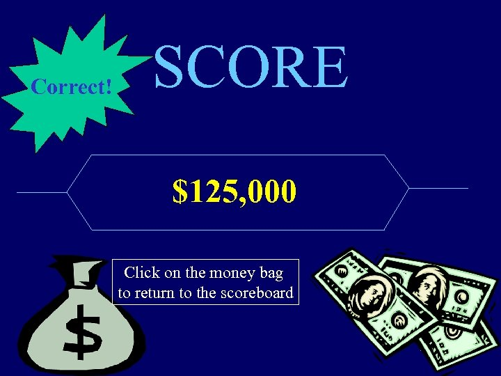 Correct! SCORE $125, 000 Click on the money bag to return to the scoreboard