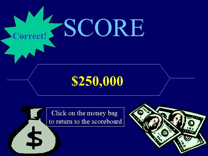 Correct! SCORE $250, 000 Click on the money bag to return to the scoreboard