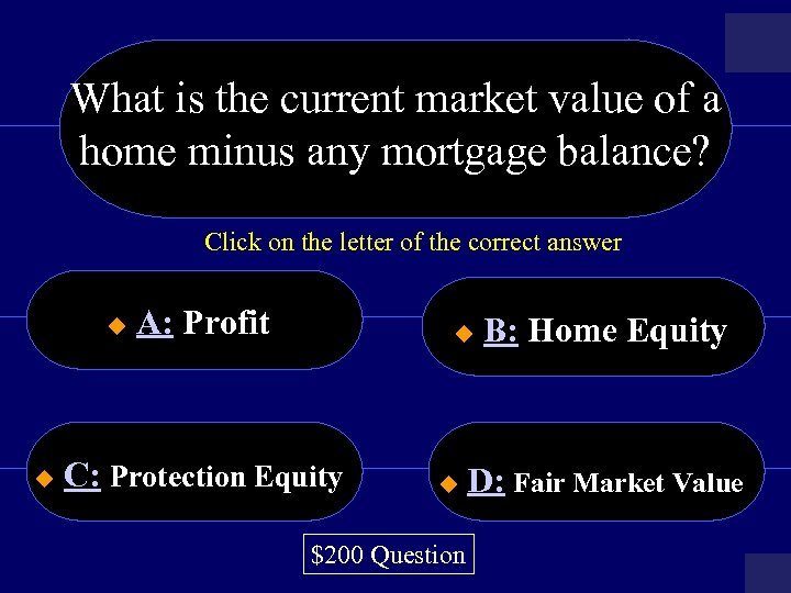 What is the current market value of a home minus any mortgage balance? Click
