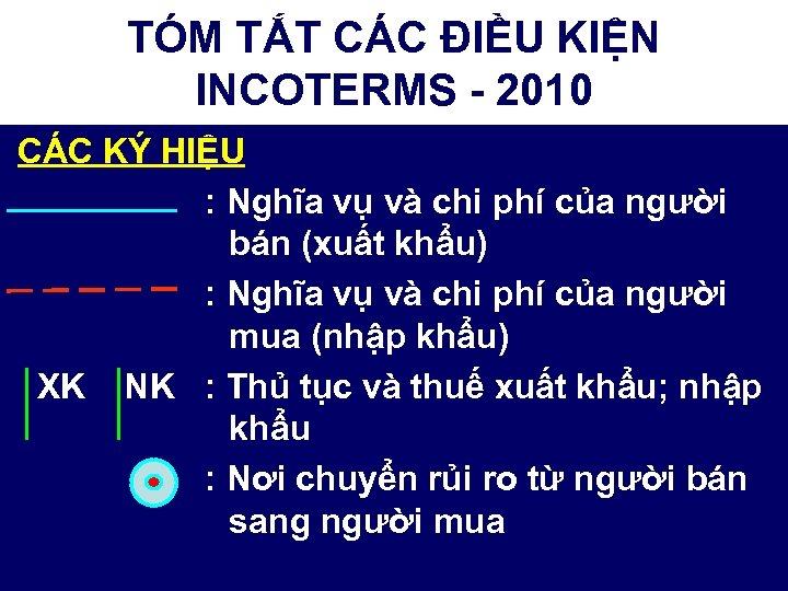 TÓM TẮT CÁC ĐIỀU KIỆN INCOTERMS - 2010 CÁC KÝ HIỆU : Nghĩa vụ