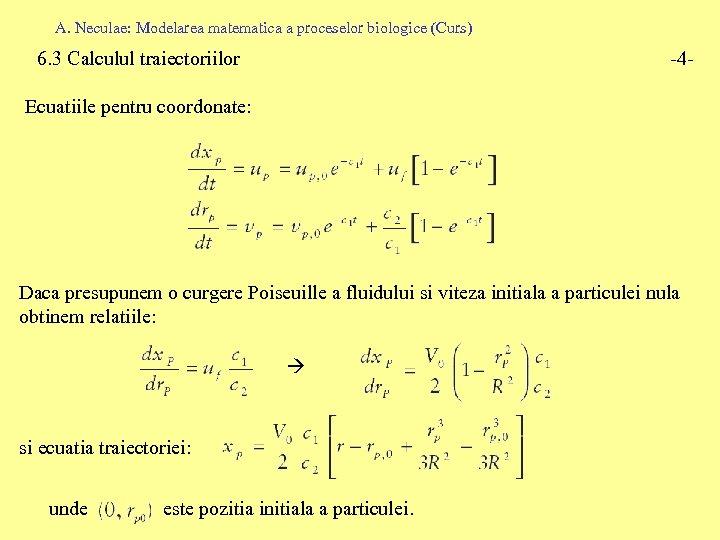 A. Neculae: Modelarea matematica a proceselor biologice (Curs) 6. 3 Calculul traiectoriilor -4 -