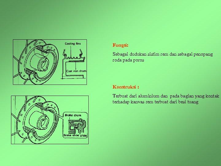Fungsi: Sebagai dudukan sistim rem dan sebagai penopang roda pada poros Konstruksi : Terbuat