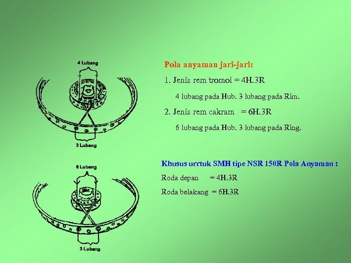 Pola anyaman jari-jari: 1. Jenis rem tromol = 4 H. 3 R 4 lubang