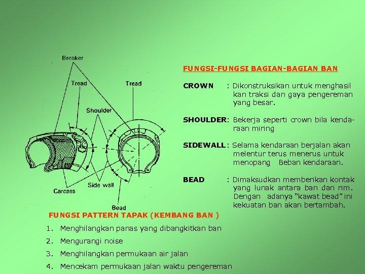 FUNGSI-FUNGSI BAGIAN-BAGIAN BAN CROWN : Dikonstruksikan untuk menghasil kan traksi dan gaya pengereman yang