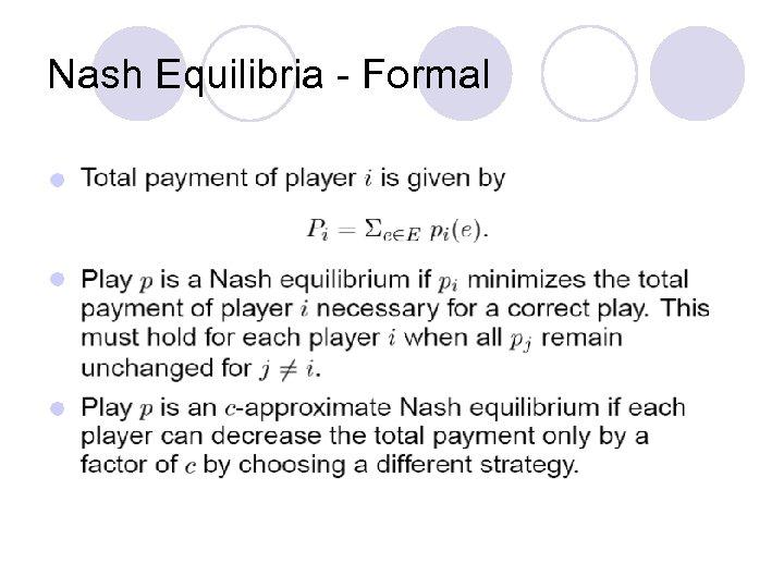 Nash Equilibria - Formal