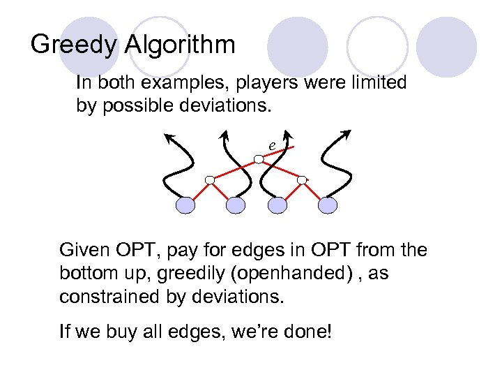 Greedy Algorithm In both examples, players were limited by possible deviations. e Given OPT,