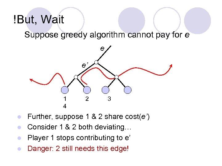 !But, Wait Suppose greedy algorithm cannot pay for e e e' 1 4 2