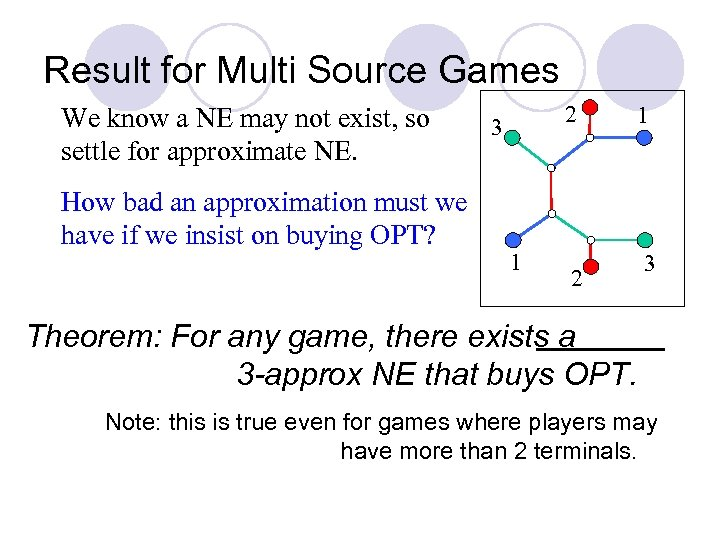 Result for Multi Source Games We know a NE may not exist, so settle