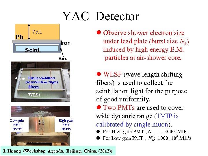 YAC Detector 7 r. l. Pb Iron Scint. Box 50 cm Plastic scintillaors (4
