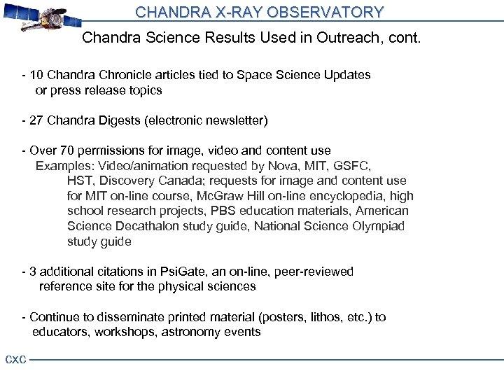 CHANDRA X-RAY OBSERVATORY Press Events 39 Press Events