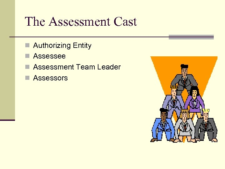 The Assessment Cast n Authorizing Entity n Assessee n Assessment Team Leader n Assessors
