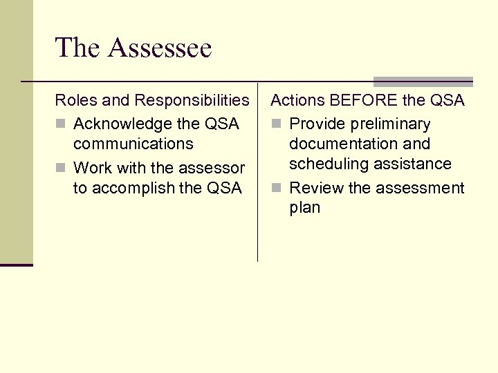 The Assessee Roles and Responsibilities n Acknowledge the QSA communications n Work with the