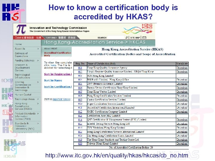 How to know a certification body is accredited by HKAS? http: //www. itc. gov.