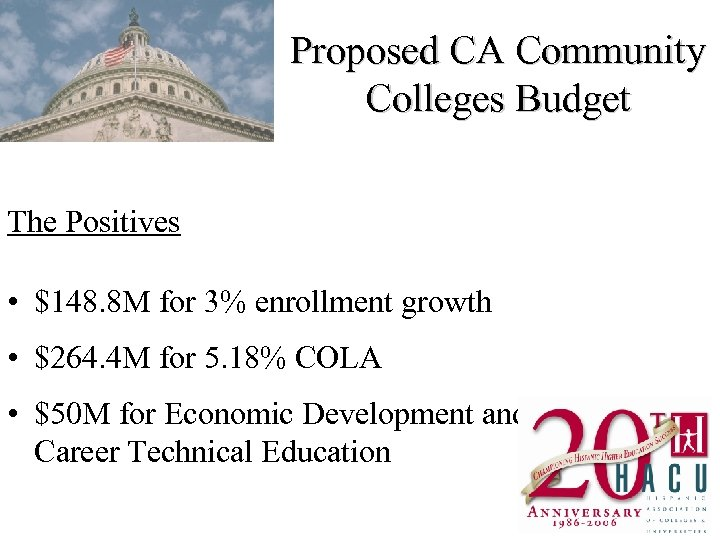 Proposed CA Community Colleges Budget The Positives • $148. 8 M for 3% enrollment