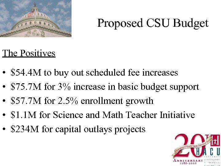 Proposed CSU Budget The Positives • • • $54. 4 M to buy out