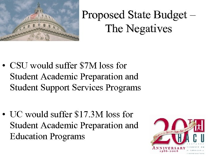 Proposed State Budget – The Negatives • CSU would suffer $7 M loss for