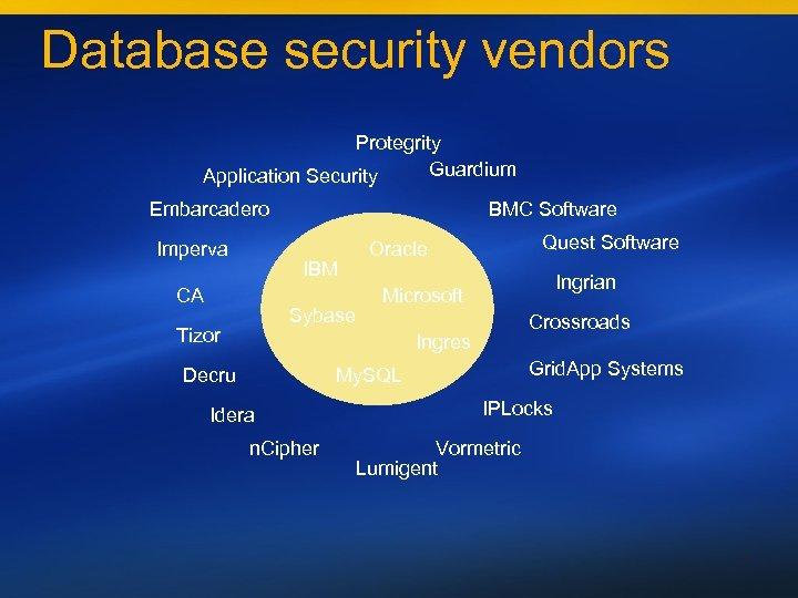 Database security vendors Protegrity Guardium Application Security Embarcadero Imperva BMC Software IBM CA Sybase