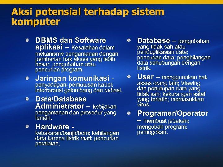 Aksi potensial terhadap sistem komputer DBMS dan Software aplikasi – Kesalahan dalam Database –