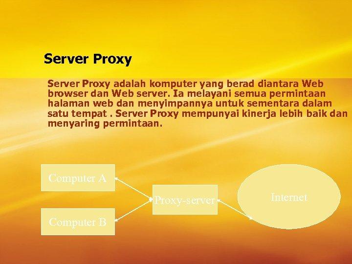 Server Proxy adalah komputer yang berad diantara Web browser dan Web server. Ia melayani