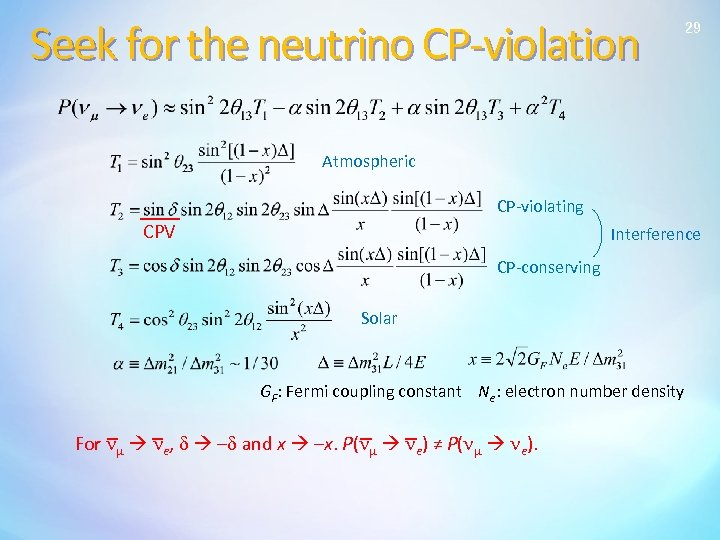 Seek for the neutrino CP-violation 29 Atmospheric CP-violating CPV Interference CP-conserving Solar GF: Fermi