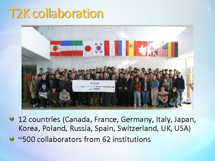 T 2 K collaboration 12 countries (Canada, France, Germany, Italy, Japan, Korea, Poland, Russia,