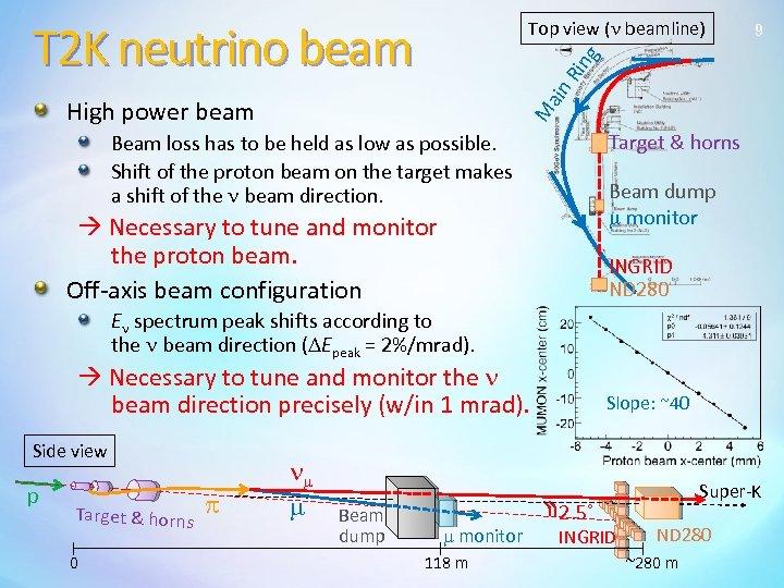 T 2 K neutrino beam 9 M ain Rin g Top view (n beamline)