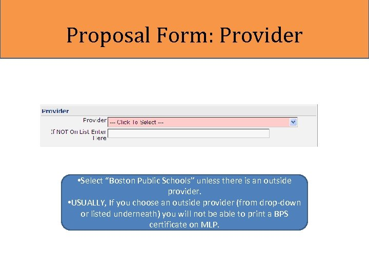 """Proposal Form: Provider • Select """"Boston Public Schools"""" unless there is an outside provider."""