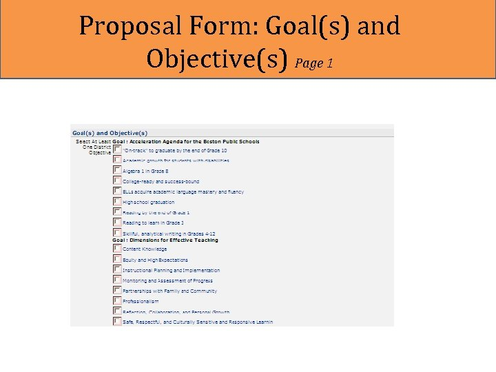 Proposal Form: Goal(s) and Objective(s) Page 1