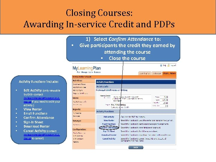 Closing Courses: Awarding In-service Credit and PDPs • Activity Functions include: • • Edit