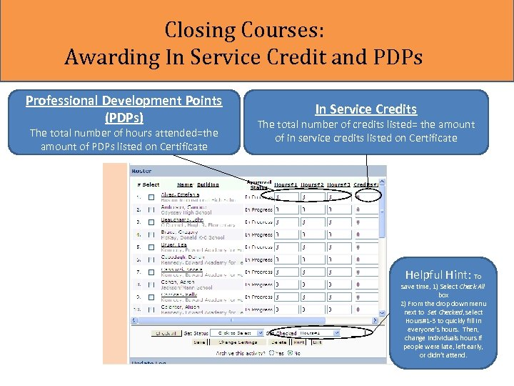 Closing Courses: Awarding In Service Credit and PDPs Professional Development Points (PDPs) The total