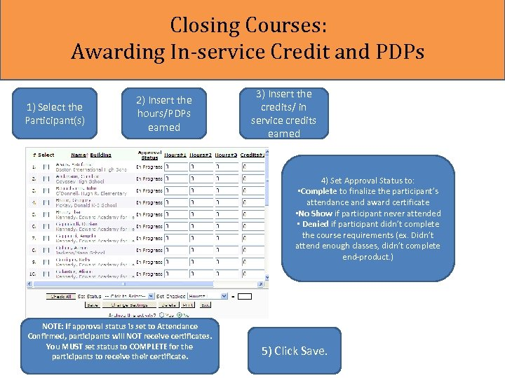 Closing Courses: Awarding In-service Credit and PDPs 1) Select the Participant(s) 2) Insert the