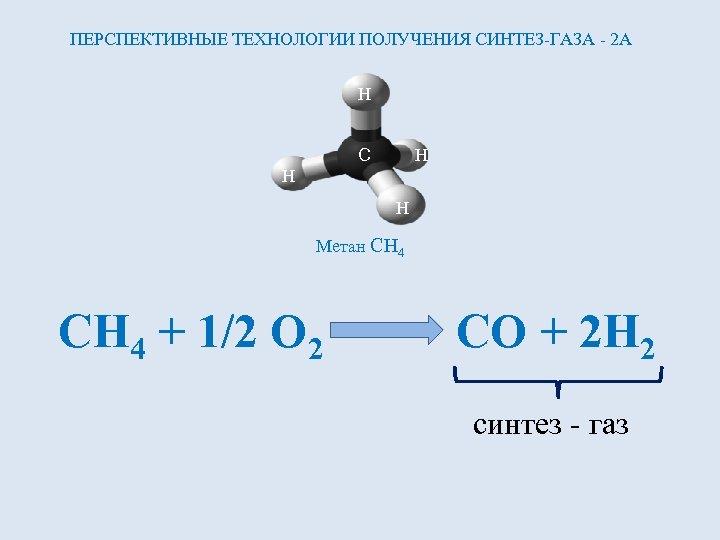 ПЕРСПЕКТИВНЫЕ ТЕХНОЛОГИИ ПОЛУЧЕНИЯ СИНТЕЗ-ГАЗА - 2 А H C H H H Метан CH