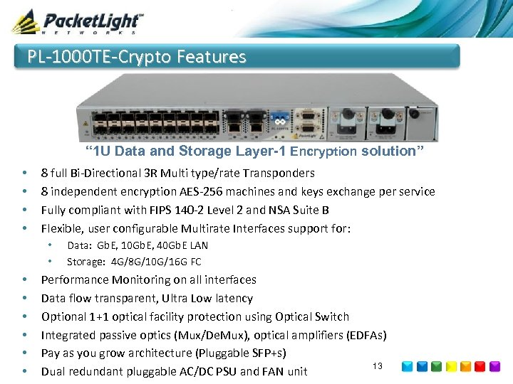 "PL-1000 TE-Crypto Features "" 1 U Data and Storage Layer-1 Encryption solution"" • •"