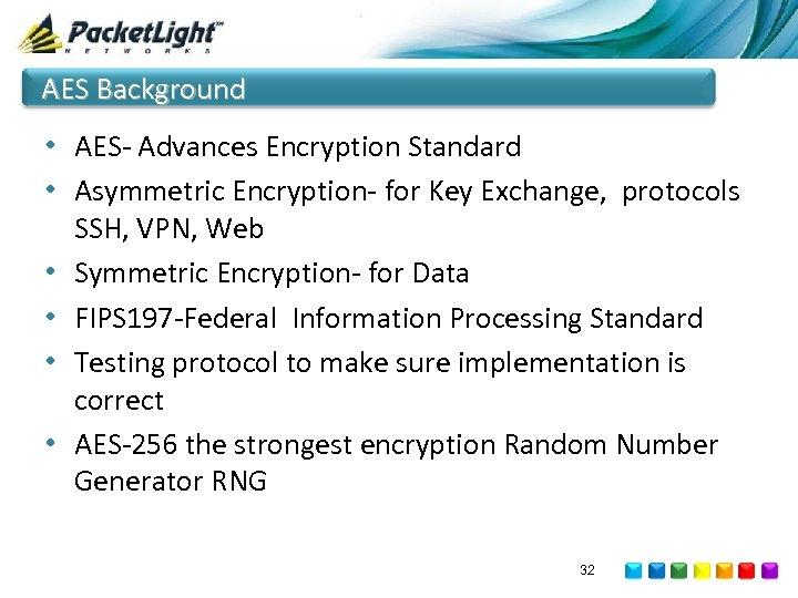 AES Background • AES- Advances Encryption Standard • Asymmetric Encryption- for Key Exchange, protocols