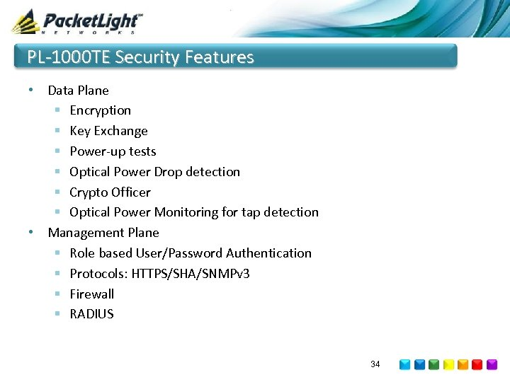 PL-1000 TE Security Features • Data Plane § Encryption § Key Exchange § Power-up