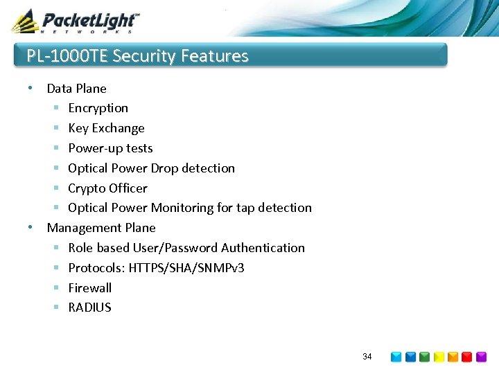 PL-1000 TE Security Features • Data Plane § Encryption § Key Exchange § Power-up