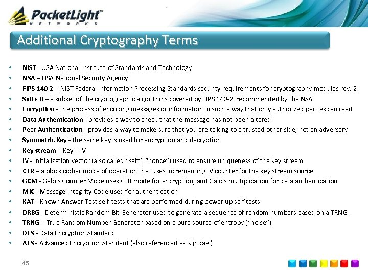 Additional Cryptography Terms • • • • • NIST - USA National Institute of