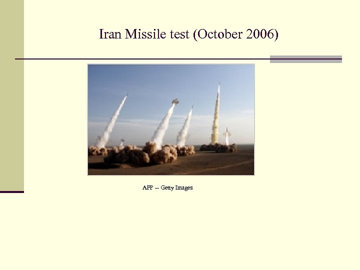 Iran Missile test (October 2006) AFP -- Getty Images