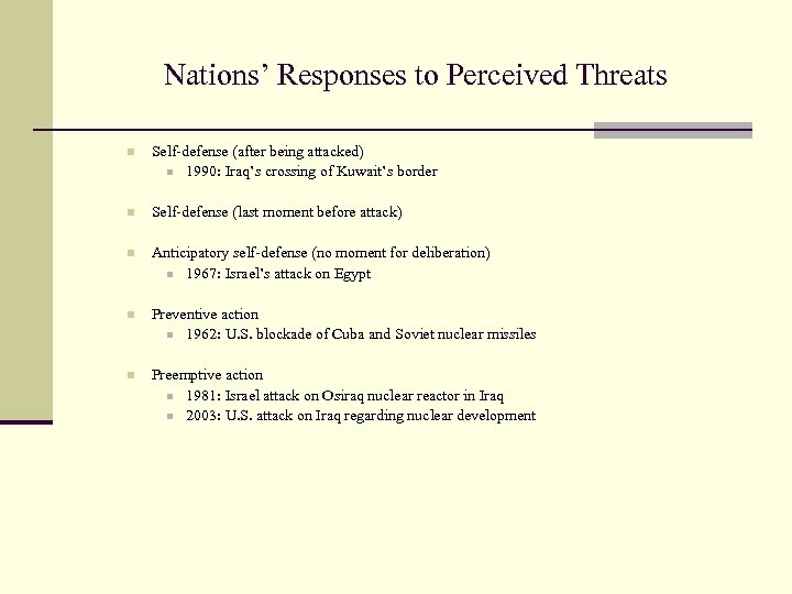 Nations' Responses to Perceived Threats n Self-defense (after being attacked) n 1990: Iraq's crossing