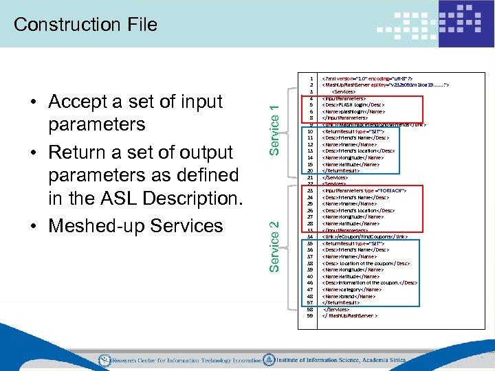 Service 2 • Accept a set of input parameters • Return a set of