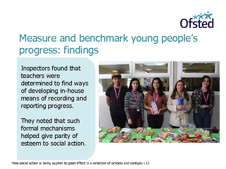 Measure and benchmark young people's progress: findings Inspectors found that teachers were determined to