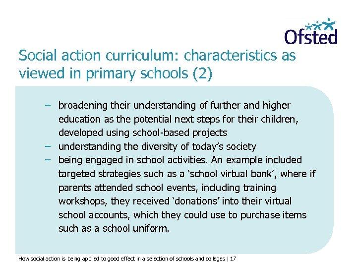 Social action curriculum: characteristics as viewed in primary schools (2) − broadening their understanding