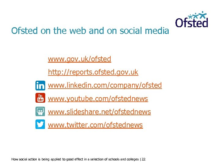 Ofsted on the web and on social media www. gov. uk/ofsted http: //reports. ofsted.